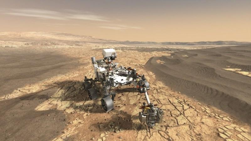 De Perseverance rover op Mars