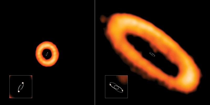 Voorbeelden van circumbinaire protoplanetaire schijven