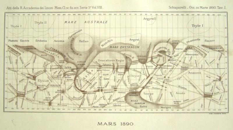 Kaart van Mars door Giovanni Schiaperelli
