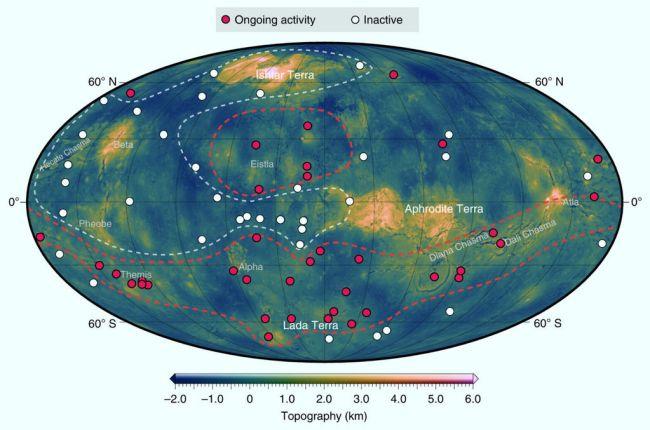Verdeling van coronae op Venus