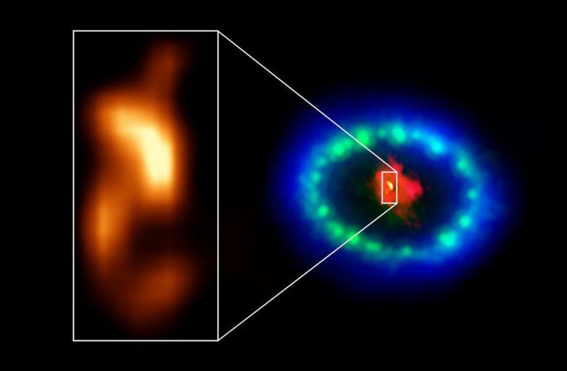 De positie van de neutronenster in SN1987A