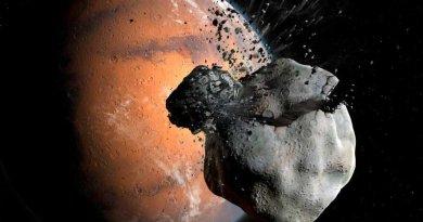 Artist impressie van het ontstaan van de manen van Mars