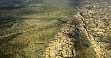 Luchtfoto van de San Andreasbreuk in Californië