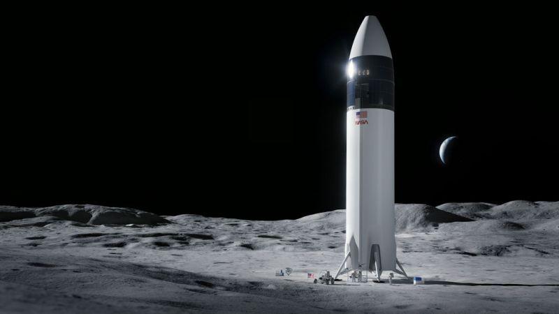 Artist impressie van de maanlander van SpaceX op de Maan