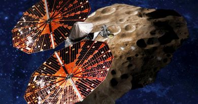 Artist impressie van Lucy bij een Trojaanse asteroïde