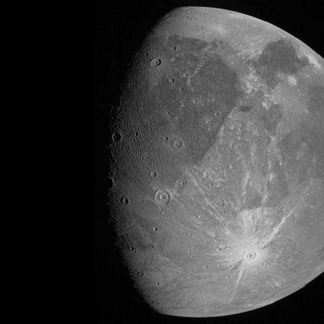 JunoCam foto van Ganymedes - juni 2021