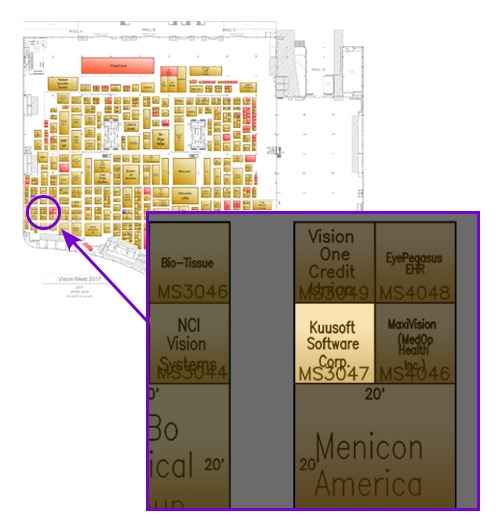 Vision Expo West 2017's floor plan with a popout image specifying where Kuusoft's booth will be