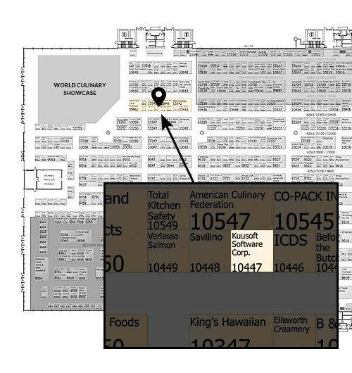 National Restaurant Association Show 2018's floor plan with a popout image showing Kuusoft's booth location