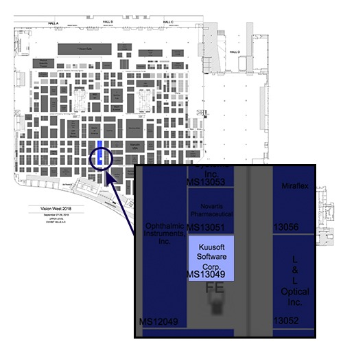 Vision Expo West 2018's floor plan with a popout image specifying where Kuusoft's booth will be
