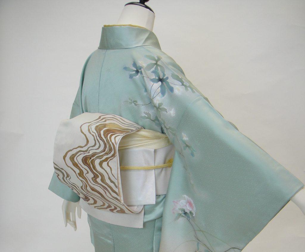 10026 グリーン×ベージュぼかし正絹訪問着袋帯セット【身長145cm~160cm】