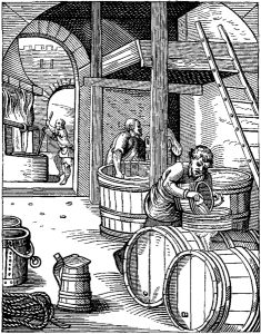 """Wiki: J Amman - """"The Brewer"""" - 16th C. engraving"""