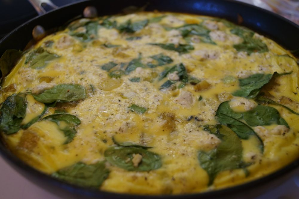 Spinach Frittata with Sweet Potato Hash Crust