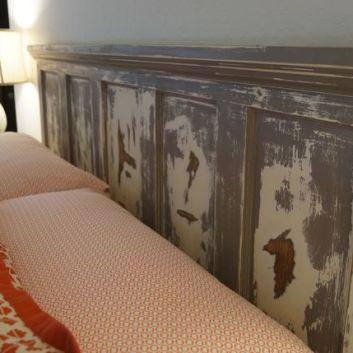 Antique Door Turned Rustic Headboard