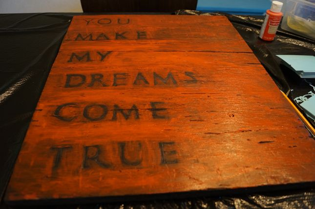 Simple DY Sign Made From a Vintage Cupboard Door