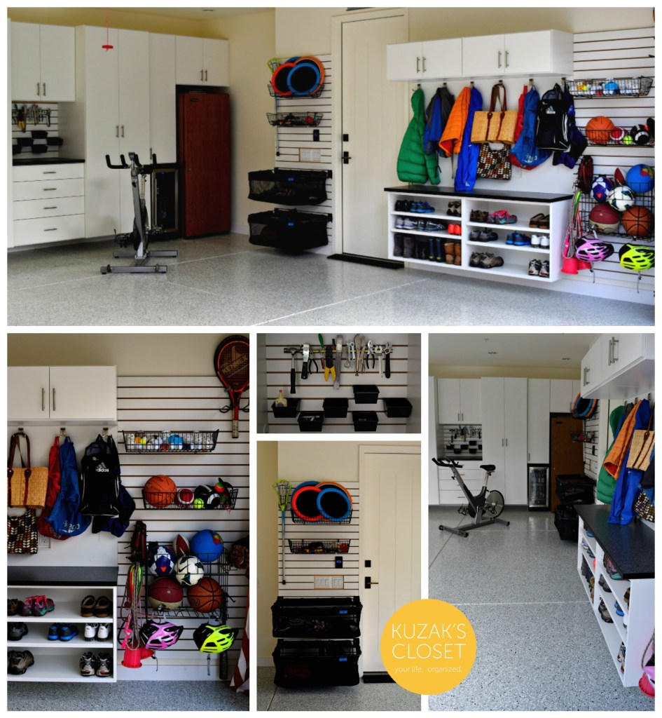 Kuzak's Closet Organized Garage with Custom Cabinets and Slat Wall