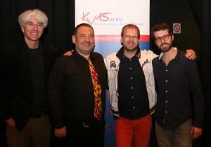 Obmann Dietmar Baurecht begrüßte Vlado Blum, Hannes Laszakovits und Christian Bakanic (v.l.n.r.) bei ihrem Konzert (Foto: zVg).