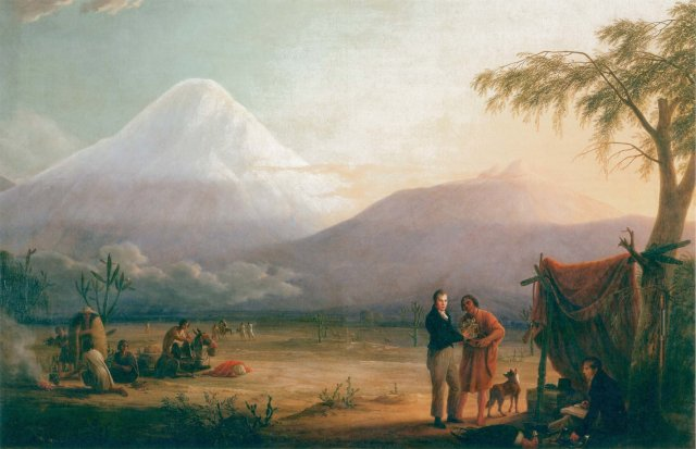 Alexander von Humboldt in Aimé Bonpland o b vznožju vulkana Chimborazo. Naslikal Friedrich Georg Weitsch,* 1810