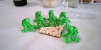 seder table with frogs