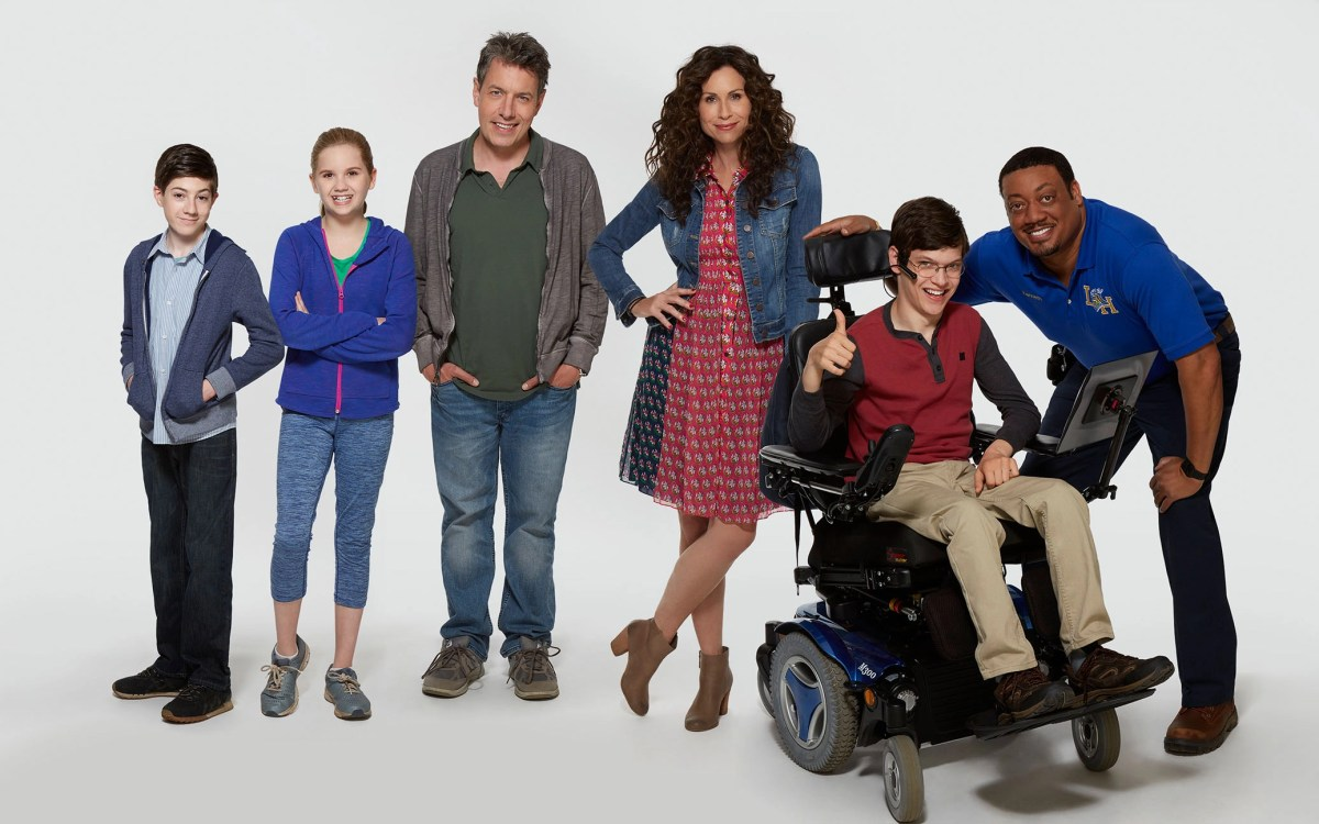 """ABC's """"Speechless"""" stars Mason Cook as Ray, Kyla Kenedy as Dylan, John Ross Bowie as Jimmy, Minnie Driver as Maya, Micah Fowler as JJ and Cedric Yarbrough as Kenneth. (Kevin Foley/ABC)"""