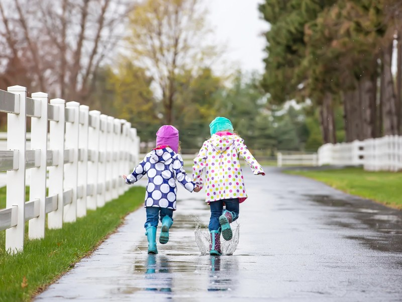 kids running in rain