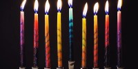 colorful lit menorah