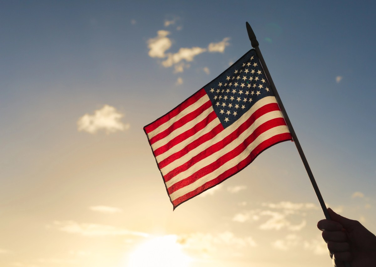 Person holding american flag.