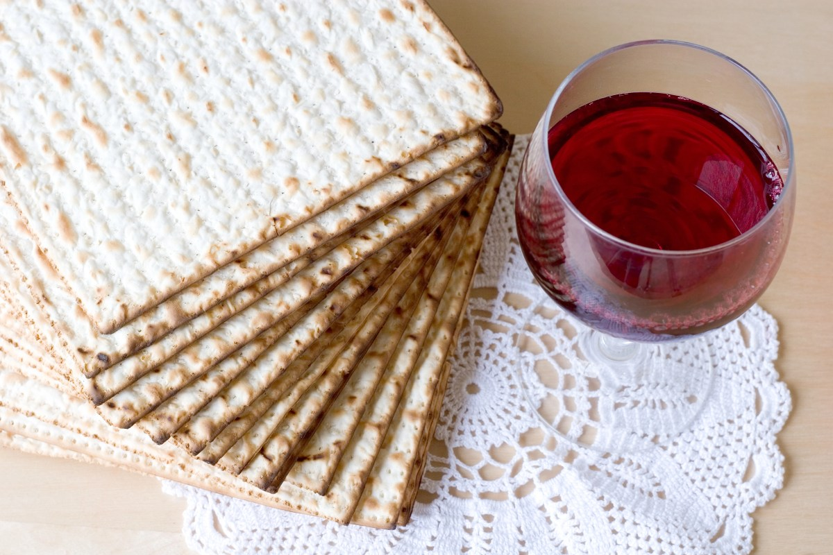 Matzoh and red sweet wine