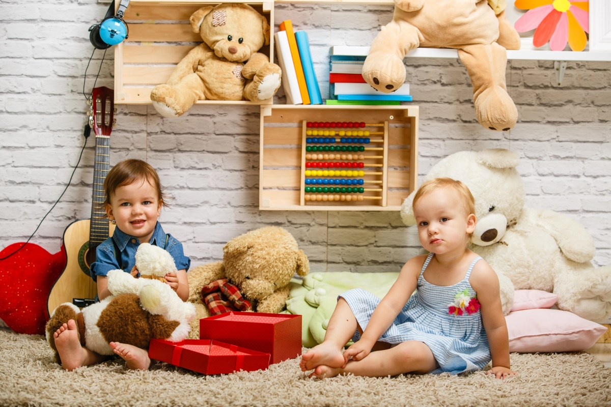 Toddler twins playing together at home.