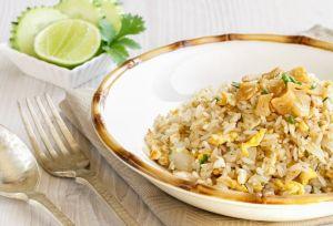 arroz frito, Arroz frito con ajo, arroz frito thai, comida tailandesa