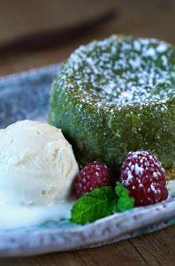 Receta de coulant, coulant de té verde, volcán de té verde