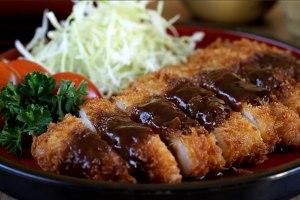 Tonkatsu, Cerdo empanado japonés, chuletas de cerdo, cerdo frito, cocina japonesa