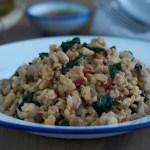 salteado de pollo, salteado de pollo picante, pad kaprao, salteado thai, salteado, salteado tailandés, estilo thai, pollo, pad kaprao de pollo