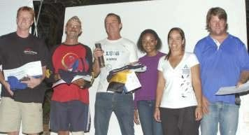 Overall winners from left: Russel Achtenberg (Gauteng), Soon Joubert (Mpumalanga), Neville Ulette (Eastern Cape), Leratho (Kumba representative) and Linda Willemse (organizer) with Chris van Noord who acted as presenter for the awards evening.