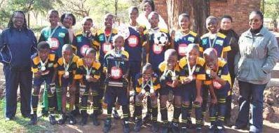 On the photo fltr: MS Mokoena Sport organizer, Mothopi Andrew, Mthethwa Andries, Kwadi Lethaba, Maruapale Gomelemo, Sephogole Moses, Mashao Tumelo, Ntshabele Lesego and Sinvula Kamogelo. Back row fltr: Sekoboaue Joseph, M M Chepape Chairperson of soccer, Mogami Johannes, Mokofinola Thomas, Sephogole Frans, CD Mothoa, Makinta Alfred, Mfisa Piet, Mohutsiwa Kgotatso, K R Leola and M J Tisane.