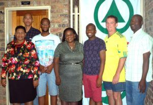 On the photo is from left front: Cllr Rachel Mokoena Meshack Muzima, Anglo representative, Cllr Ester Semadi and the league sponsor Hannes Coetzee from Thaba Superspar, along with some members of the league committee.