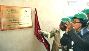 Dr BE Nzimande, Minister of Higher Education and Training with Mayor PA Mosito of Thabazimbi during the unveiling the plague of Waterberg TVET College, Thabazimbi Campus.