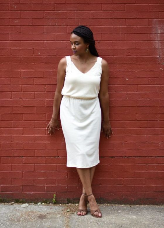 Khalila White in Custom Jersey Knit Dress - K.White Collection