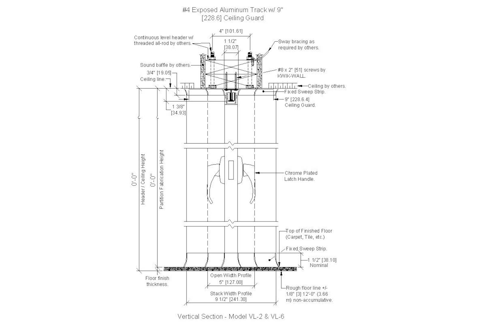 Cad Details For Kwik Wall Model Vl 2 Accordion Partitions
