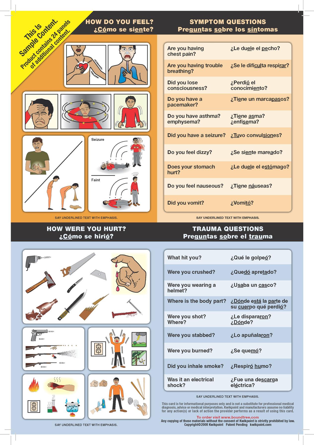 Boundtree English Spanish Medical Visual Language