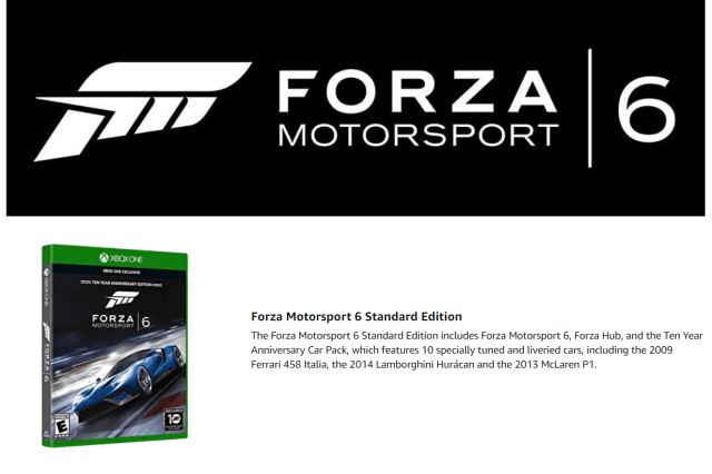 Forza Motorsport 6 Xbox One Racing Game