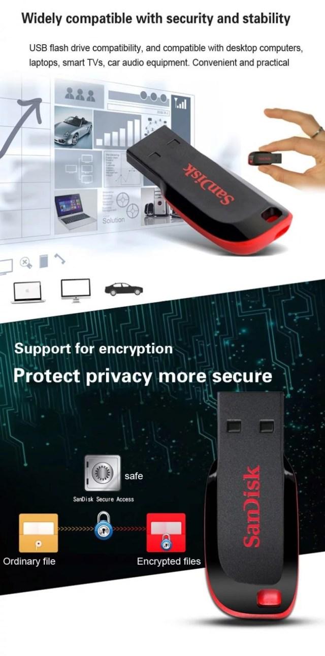 SanDisk CZ50 Flashdisk Cruzer Blade USB Flash Drive 64GB 32GB 16GB