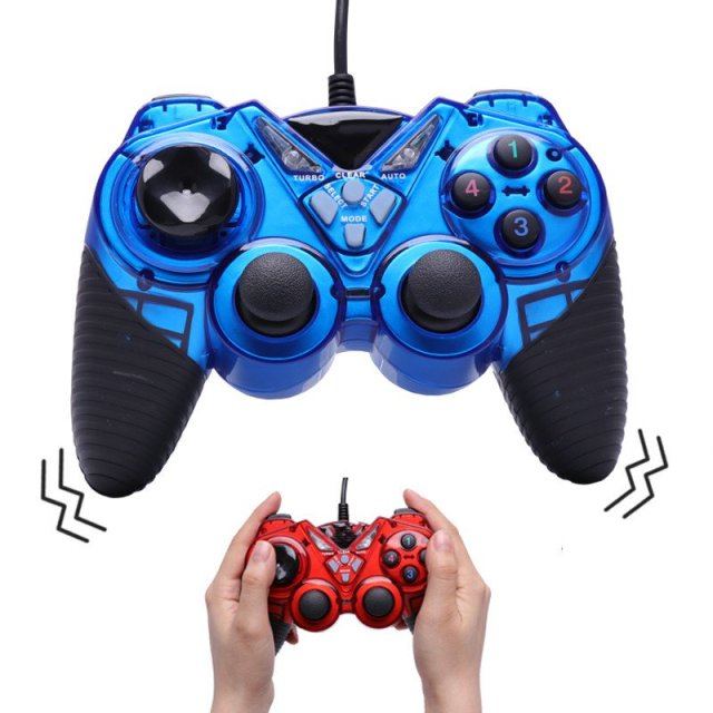 Dual Shock PC Game Controller Wired USB
