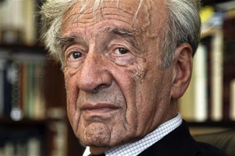 FILE - In this Sept. 12, 2012, photo Elie Wiesel is photographed in his office in New York. Israel's Yad Vashem Holocaust Memorial says Elie Wi_307264