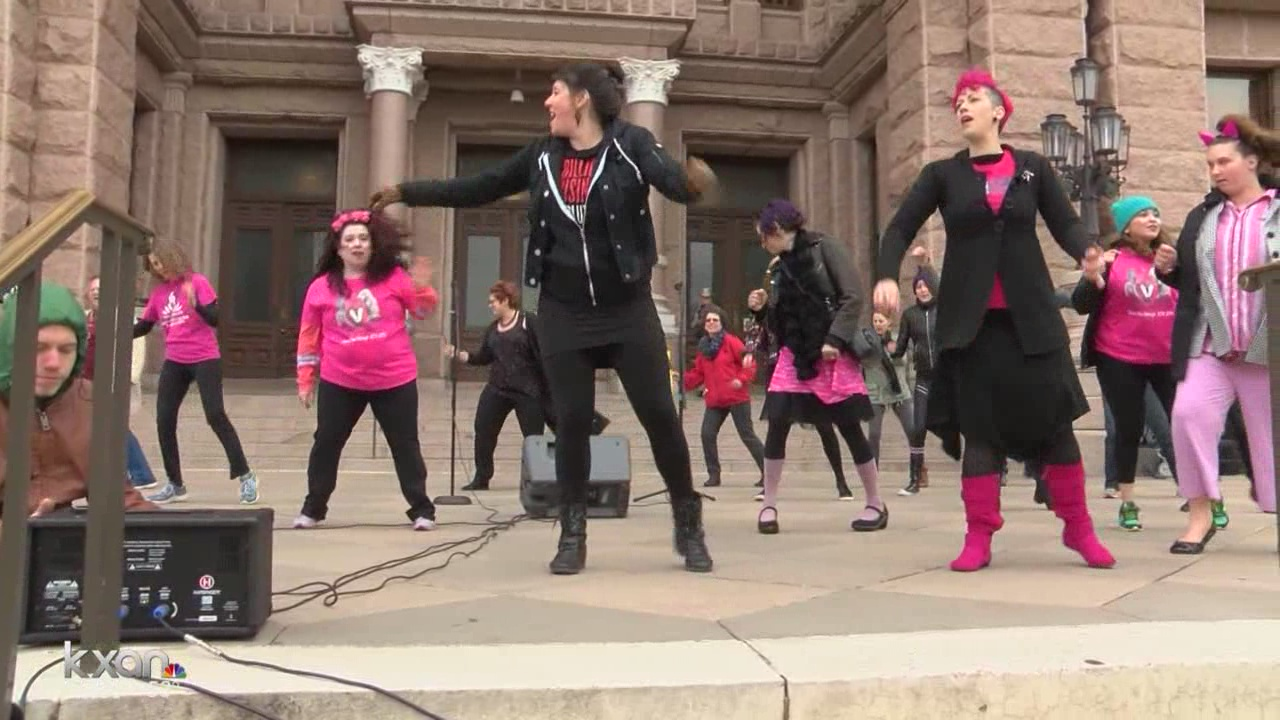 Protesters at the State Capitol dance to end sexual violence_419287