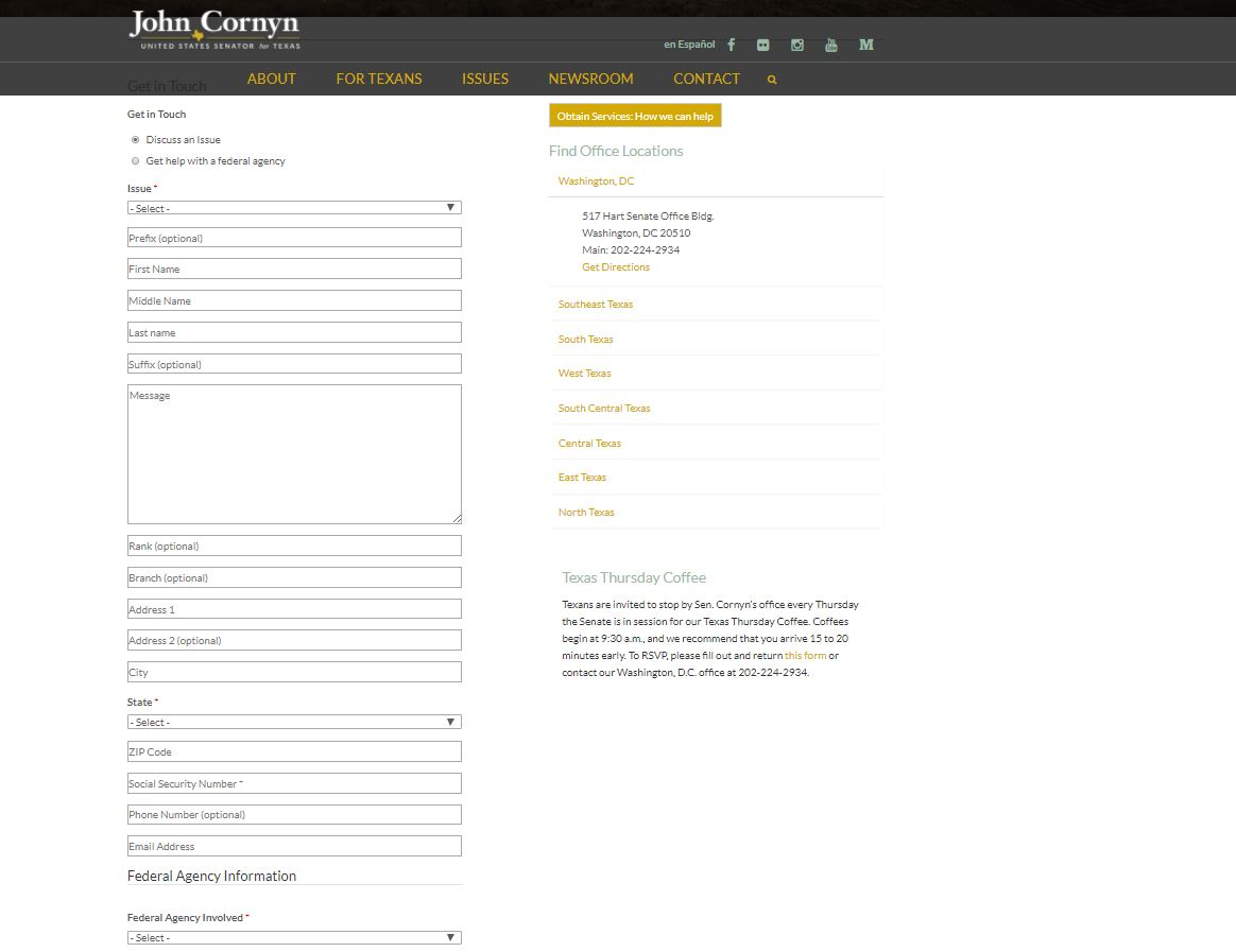 Senator John Cornyn's website_581067