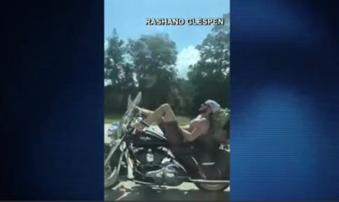Jacksonville motorcyclist steering with his feet