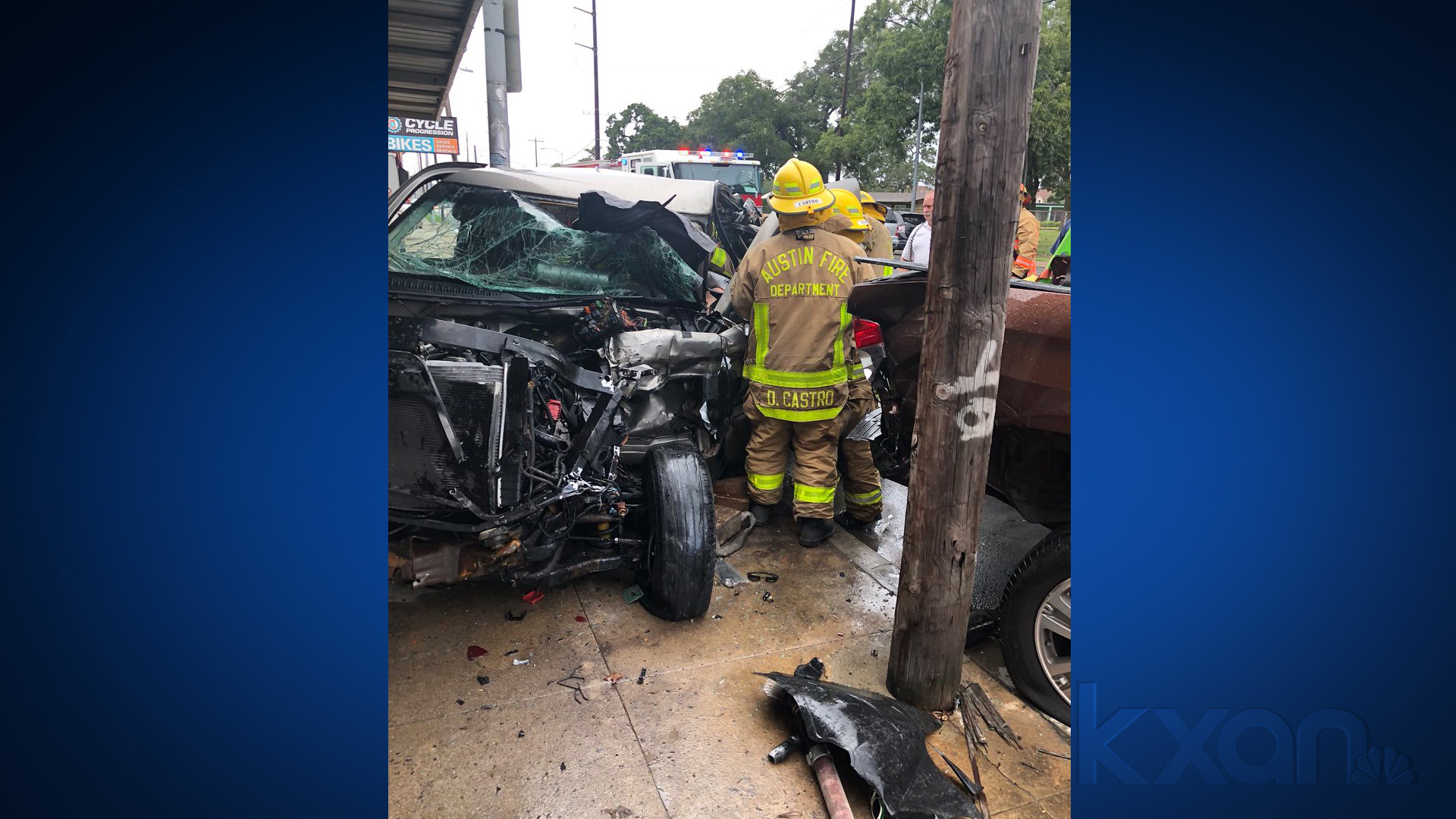 Man rescued from vehicle after pickup truck crashed into building at 4023 Guadalupe St. in Austin on Sept. 14, 2018