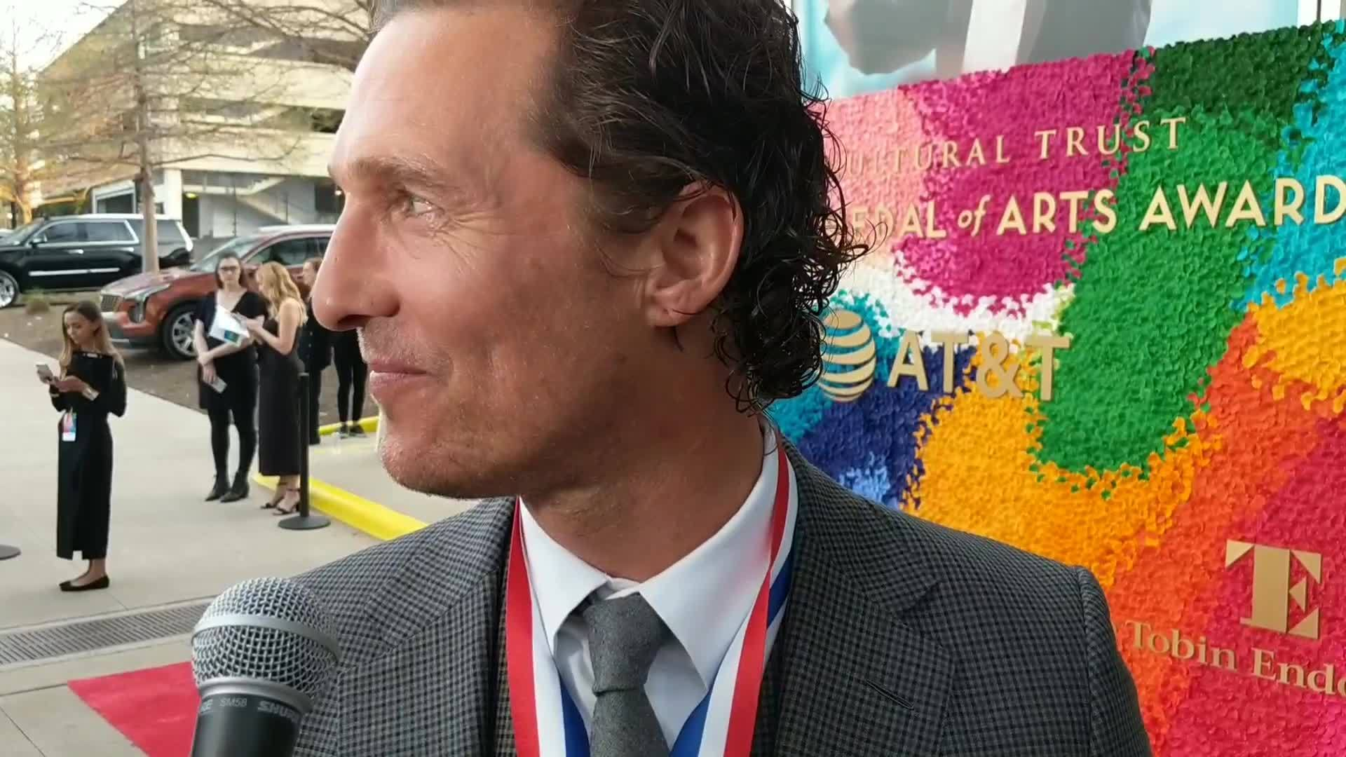 Matthew McConaughey speaks from the TMAA red carpet