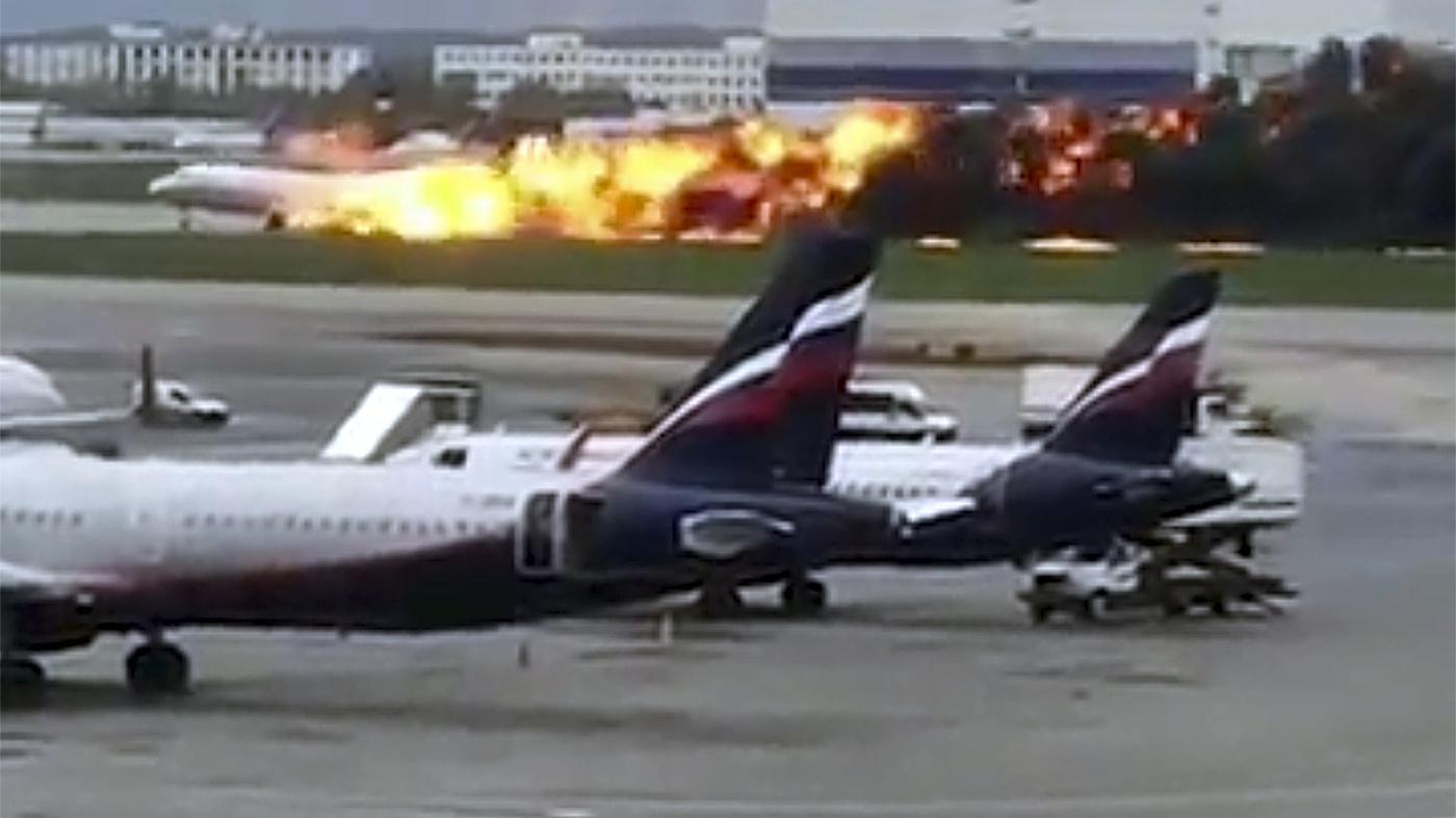 Russian plane on fire