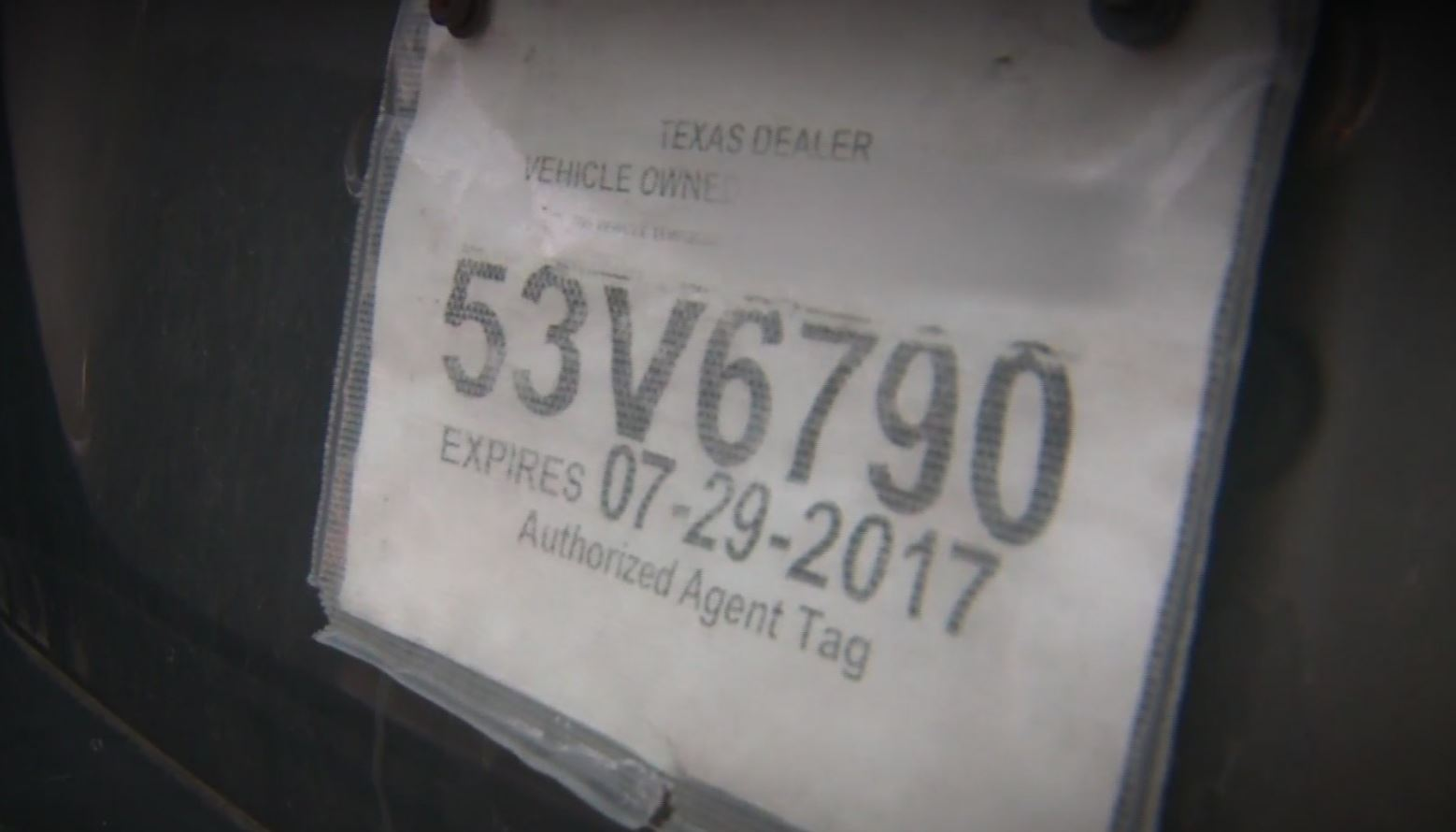 Fake Texas car tag